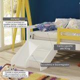 Cama Infantil Prime com Telhadinho II Grade de Proteção c/ Kit Escadinha/ Escorrega - Amarelo/ Branco