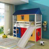 Cama Infantil com escorregador Tenda Multicores e Telhado Completo – Casatema