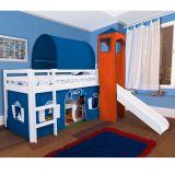 Cama com Escorregador Torre e Túnel c/ Tenda Azul Veneziana - Casatema