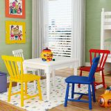 Conjunto Mesa com 4 Cadeiras Infantis - Madeira Maciça - Acabamento em Laca Fosco