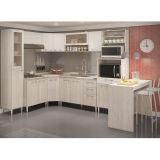 Cozinha Compacta - Armário de Forno/ Micro-ondas e Balcões de Pia/Cooktop - Elmo Natural/ Champanhe