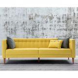 Sofá com 3 Almofadas Neon 1,63m - Estrutura EucaliptoPés Madeira Maciça - Veludo Animalle Amarelo