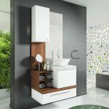Conjunto Ravenna Para Banheiro Branco Com Nogal e Sevilha Celta Móveis