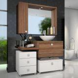 Conjunto Vicenza Para Banheiro Branco Com Nogal e Sevilha Celta Móveis