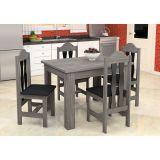 Conjunto de Mesa e 4 Cadeiras Florência Bianco & Preto Celta Móveis