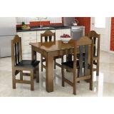 Conjunto de Mesa e 4 Cadeiras Florença Imbuia & Preto | Celta