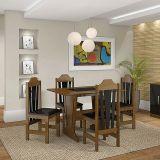 Conjunto de Mesa e 4 Cadeiras Ibiza Imbuia & Preto Celta Moveis