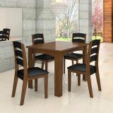 Conjunto de Mesa e 4 Cadeiras Monique Imbuia & Preto Celta Móveis