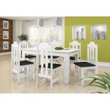 Conjunto de Mesa e 6 Cadeiras Florença Branco & Preto