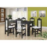 Conjunto de Mesa e 6 Cadeiras Florenca Onix & Branco Celta Moveis
