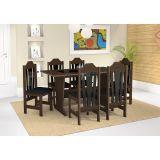 Conjunto de Mesa e 6 Cadeiras Ibiza Carvalho & Preto Celta Móveis
