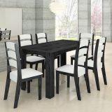 Conjunto de Mesa e 6 Cadeiras Monique Onix & Branco Celta Móveis