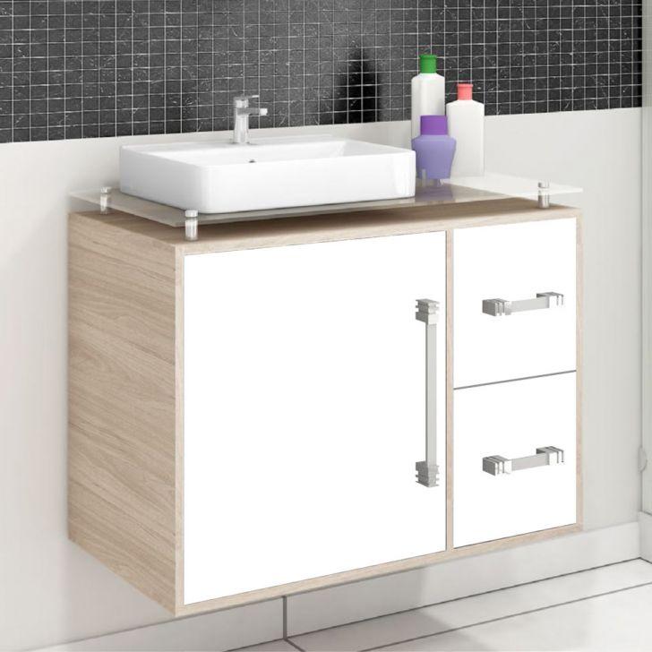Gabinete para Banheiro com Cuba e Espelho 1 Porta VTec Kit Hadar  Armários e -> Cuba Para Banheiro Oferta