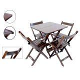 Conjunto Mesa 70X70 Cm 4 Cadeiras Dobráveis