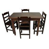Conjunto Mesa Fixa 120X70 Cm 4 Cadeiras em Madeira Maciça Imbuia - Cia Bistrô