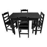 Conjunto Mesa Fixa 120X70 Cm 4 Cadeiras em Madeira Maciça Preto - Cia Bistrô