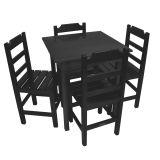 Conjunto Mesa Fixa 70X70 Cm 4 Cadeiras em Madeira Maciça Preto - Cia Bistrô