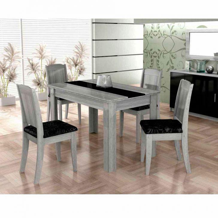 Conjunto de Mesa de Jantar 4 Cadeiras Barbara Cinza & Preto Cimol