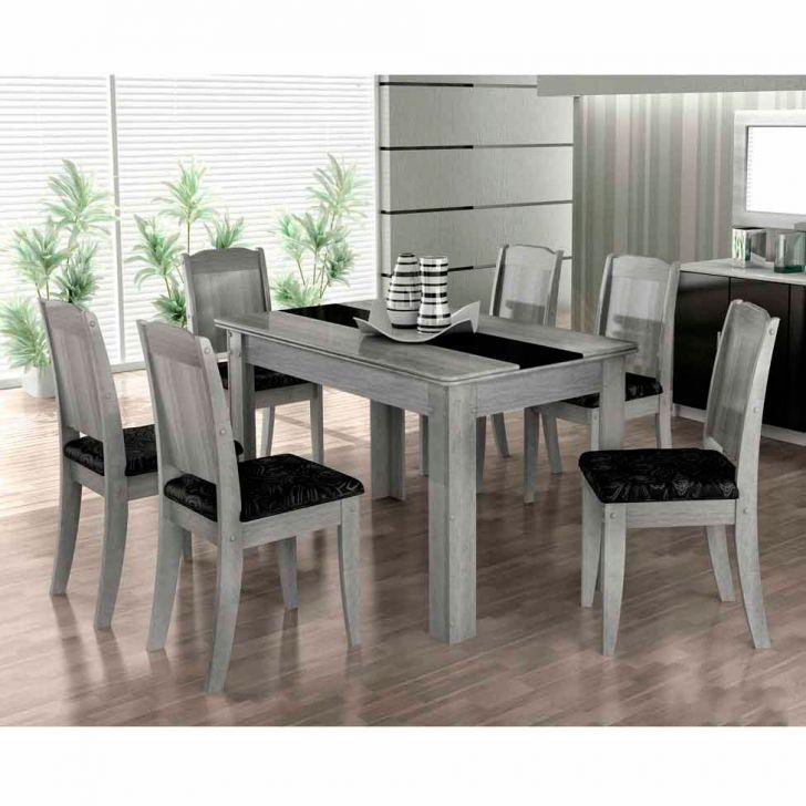 Conjunto de Mesa de Jantar 6 Cadeiras Barbara Cinza & Preto Cimol