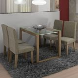 Conjunto de Mesa e 4 Cadeiras Milena Nogueira Bege Cimol