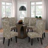 Conjunto de Mesa e 8 Cadeiras Beatriz Preto & Bege