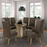 Conjunto de Mesa e 8 Cadeiras Beatriz Suede Nogueira & Marrom