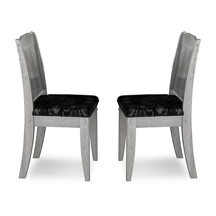 Kit de 2 Cadeiras Barbara Cinza,Preto