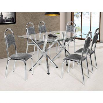 Conjunto de Mesa com 6 Cadeiras de Cozinha Cris X Top Cinza Ciplafe Cris