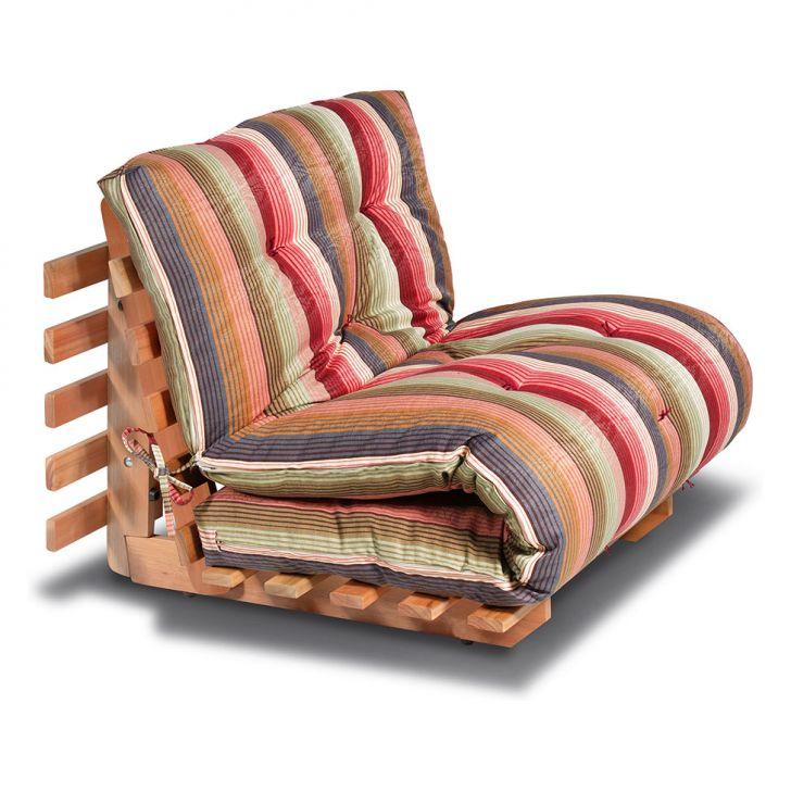 Sof cama solteiro futon com estrutura de madeira listrado - Sofas cama futon ...