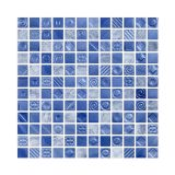 Placa De Pastilha De Vidro E Pedra Fusion FUS15 Azul Metalico