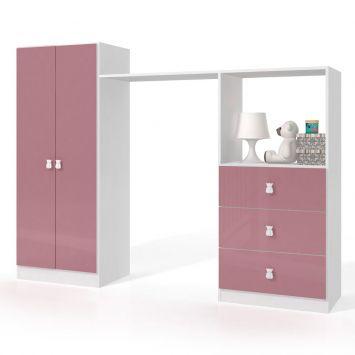 Conjunto Guarda - Roupa e Cômoda Infantil BB 700 BCO / ROSA Branco com Rosa Completa Móveis Completa Móveis BB 700 BCO / ROSA