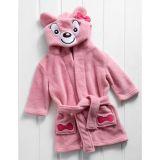 Roupão Bebê com Capuz Microfibra 53x28 Le Petit Baby Zoo Ursa Rosa
