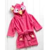Roupão Bebê com Capuz Microfibra 59x29 Le Petit Baby Zoo Coruja Pink