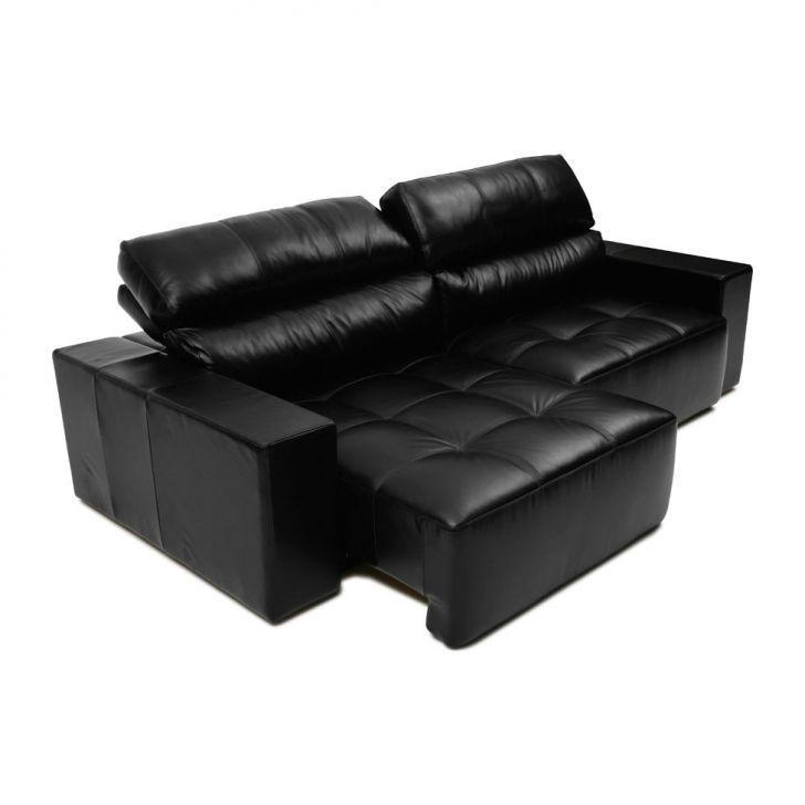 Sofa Argos 4 Lugares Couro Preto Couro Casa