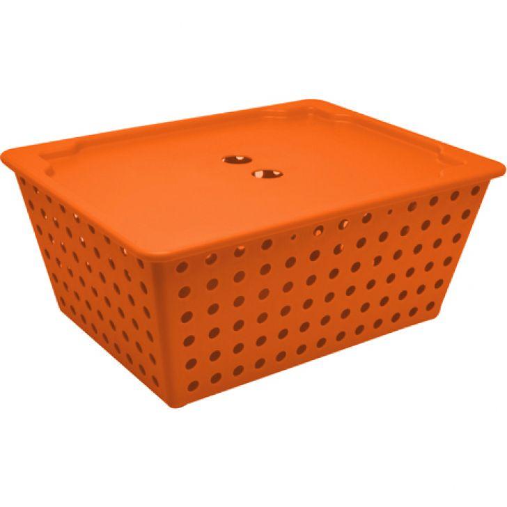 Cesta Maxi com Tampa Maxi Basket Cover Laranja 30 cm