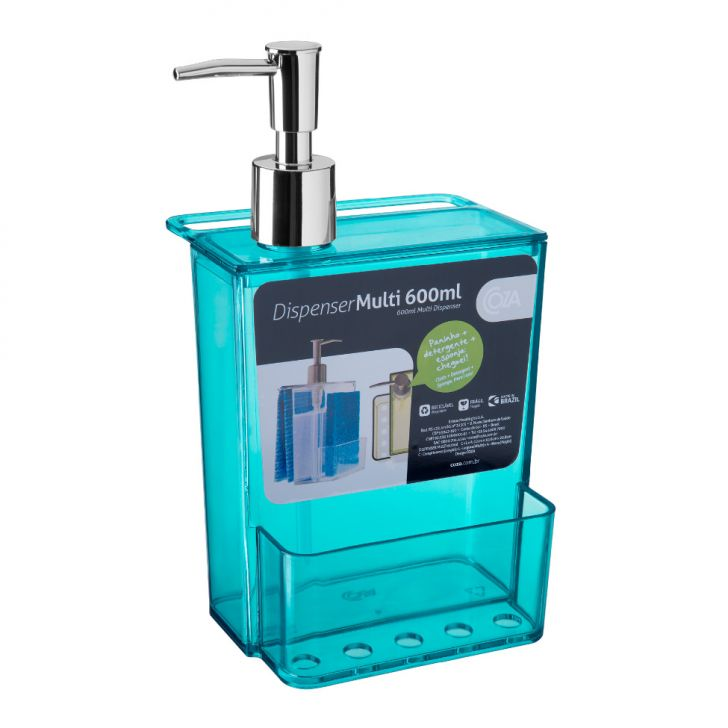 Dispenser Multi 600 Ml Verde Transparente DESCONTO DE R$: 7,00 (16,28% OFF) - OFERTA MOBLY
