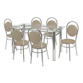 Conjunto de Mesa Ana Paula com 6 Cadeiras Cromada Criativa Ana Paula