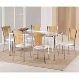 Conjunto de Mesa e 6 Cadeiras Natalia Prata & branco & bege