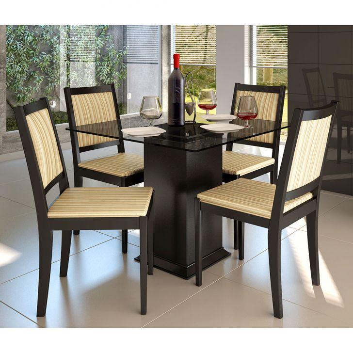 Conjunto de Mesa e 4 Cadeiras Com Tampo de Vidro Quadrado Lara