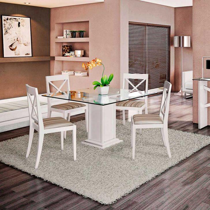 Conjunto de Mesa e 4 Cadeiras Com Tampo de Vidro Quadrado Veneza