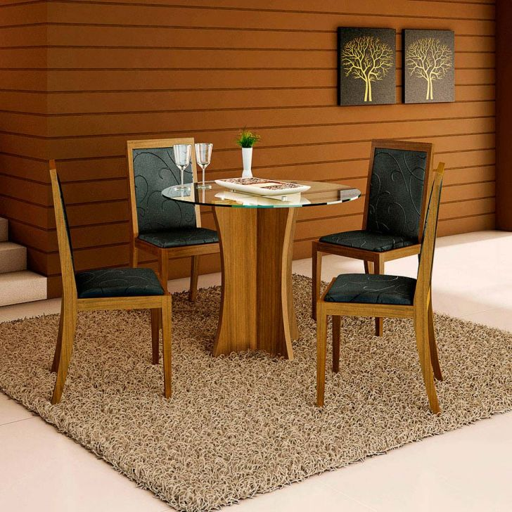 Conjunto de Mesa e 4 Cadeiras Com Tampo de Vidro Redondo Talita