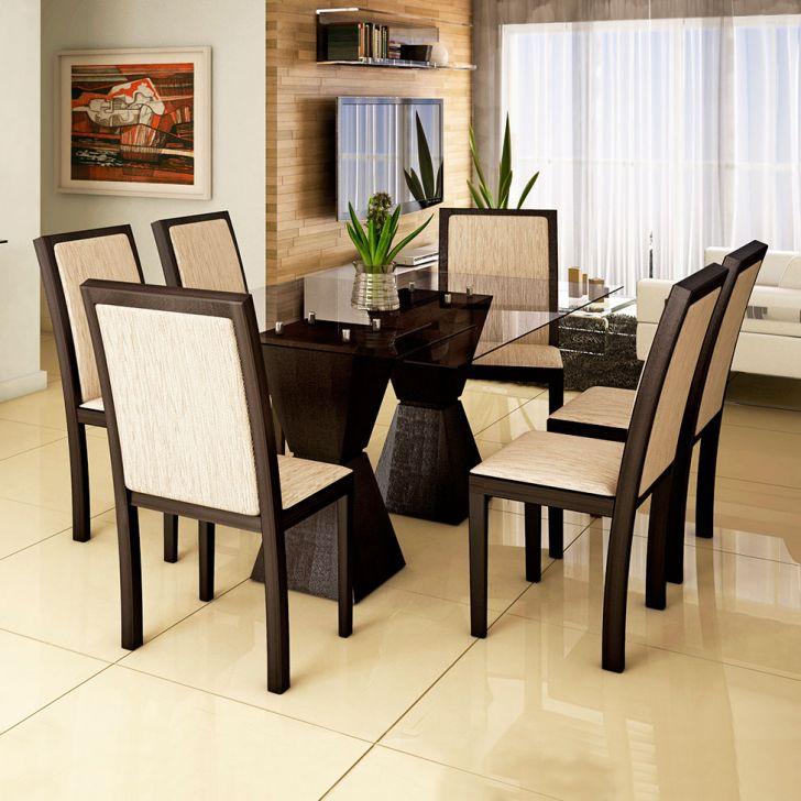 Conjunto de Mesa e 6 Cadeiras Com Tampo de Vidro Retangular Amanda