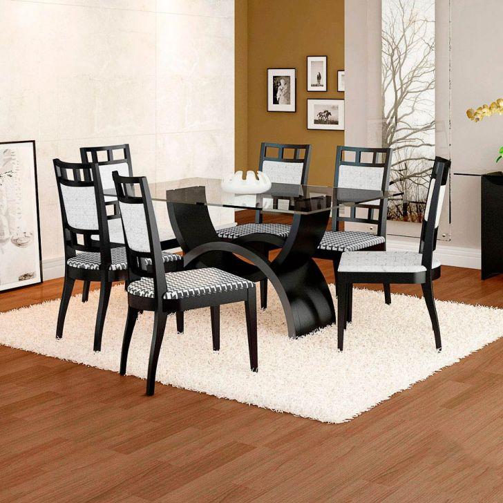 Conjunto de Mesa e 6 Cadeiras Com Tampo de Vidro Retangular Cristina