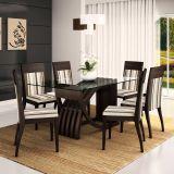 Conjunto de Mesa e 6 Cadeiras Com Tampo de Vidro Retangular Italia