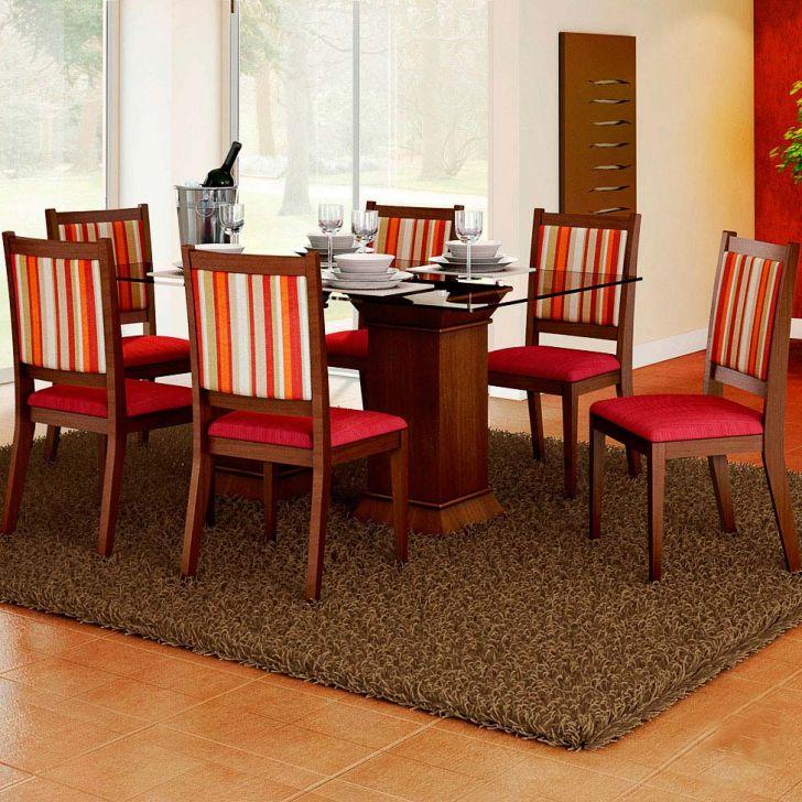 Conjunto de Mesa e 6 Cadeiras Com Tampo de Vidro Retangular Larissa