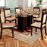 Conjunto de Mesa e 6 Cadeiras Com Tampo de Vidro Retangular Lorena