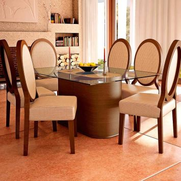Conjunto de Mesa e 6 Cadeiras Com Tampo de Vidro Retangular Napoleao