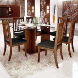 Conjunto de Mesa e 6 Cadeiras Com Tampo de Vidro Retangular Poliana