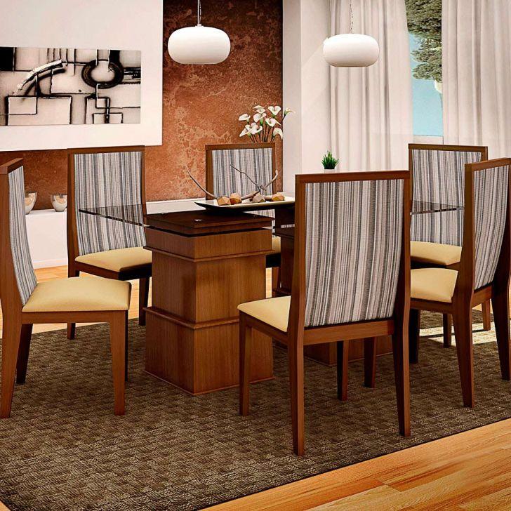 Conjunto de Mesa e 6 Cadeiras Com Tampo de Vidro Retangular Simone