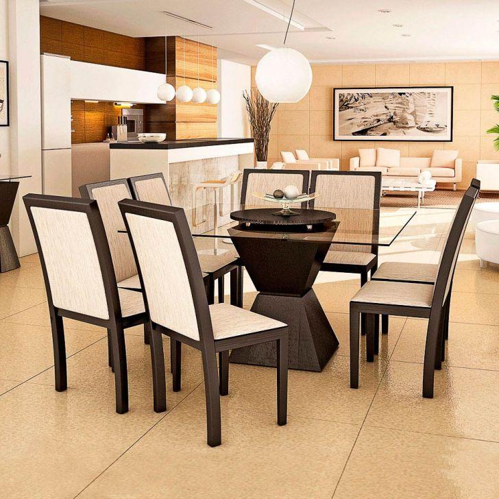 Conjunto de Mesa e 8 Cadeiras Com Tampo de Vidro Quadrado Amanda Plus